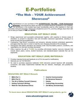 "E-PORTFOLIOS - ""The Web – YOUR Achievement Showcase"""
