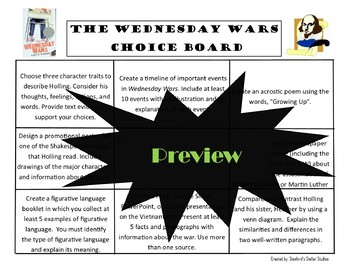 The Wednesday Wars Choice Board Menu Novel Study Activities Book Project