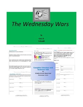 The Wednesday Wars Complete Literature and Grammar Unit