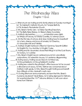 The Wednesday Wars Objective Quizzes by Chapter Multiple Choice True/False