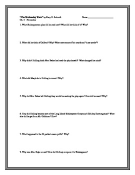 """The Wednesday Wars"", by G. Schmidt, Comprehension Questions"