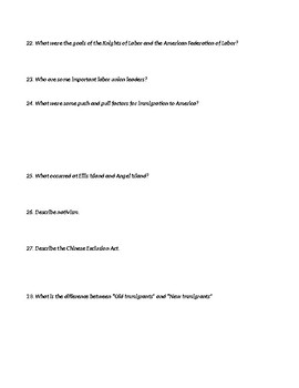 The West & Gilded Age Review Sheet
