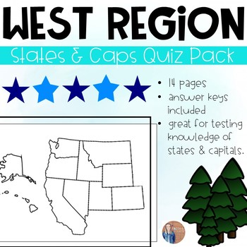 The West Region States and Capitals Quiz Pack