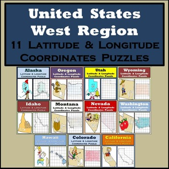 Latitude & Longitude Puzzles - The West Region of the USA - 11 Puzzles