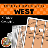 West United States Bracelets with States, Capitals, Abbreviations