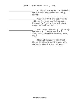 The West Vocab Quiz