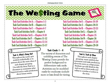 the westing game 96 task card activities by challenging minds tpt. Black Bedroom Furniture Sets. Home Design Ideas