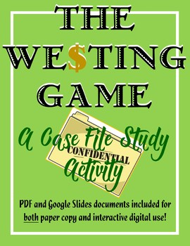 The Westing Game - An Investigator's Case File Template w/ Google Documents
