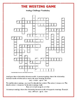 The Westing Game: Analogy Vocabulary Crossword--Different!