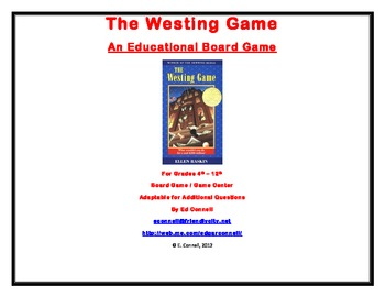 the westing game board game by ed connell teachers pay teachers. Black Bedroom Furniture Sets. Home Design Ideas