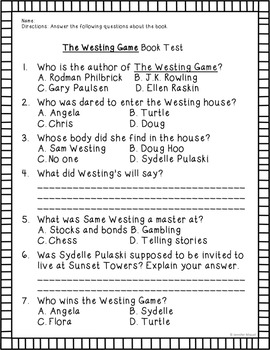 The Westing Game Book Test