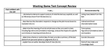 The Westing Game - CCSS Aligned Final Assessment