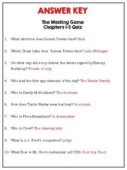 The Westing Game Chapter Quizzes