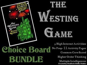 The Westing Game CHOICE BOARD BUNDLE No Prep Novel Menu 11 Activity Pages