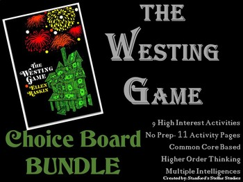 The Westing Game CHOICE BOARD BUNDLE No Prep Novel Menu 11 Activity Pages