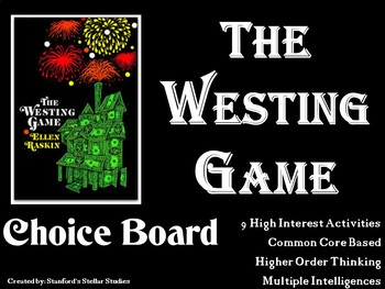 The Westing Game Choice Board Novel Study Activities Menu Book Project Rubric