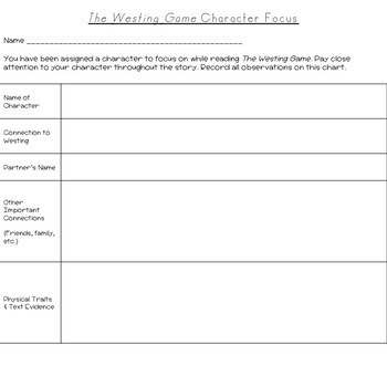 The Westing Game: Comprehension Guide & Final Project (BUNDLE)
