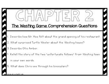 The Westing Game Comprehension Questions