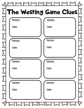 The Westing Game Detective File Novel Study
