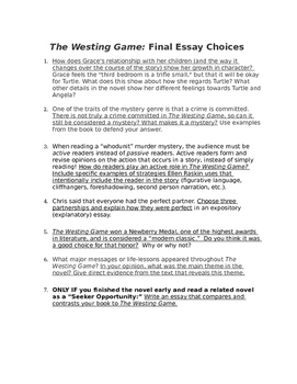 The Westing Game Essay Prompts