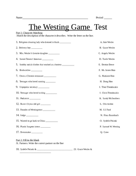 the westing game final test by amy washburn teachers pay teachers. Black Bedroom Furniture Sets. Home Design Ideas