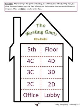the westing game flap book by living laughing teaching tpt. Black Bedroom Furniture Sets. Home Design Ideas