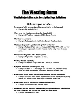 The Westing Game Guidelines for Character Descriptions (for Weebly ...