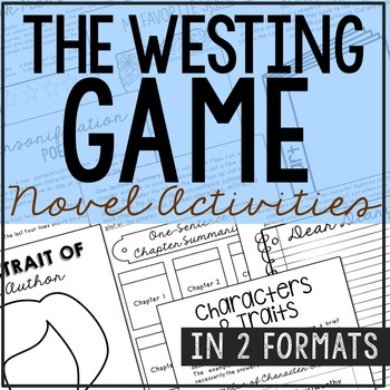The Westing Game Novel Study Unit Activities, In 2 Formats
