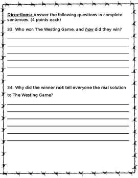 The Westing Game Test