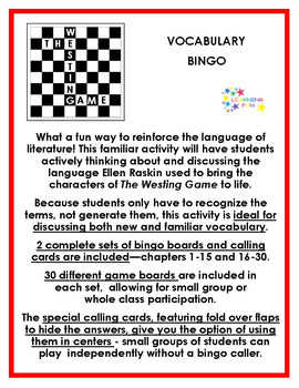 The Westing Game Vocabulary Bingo