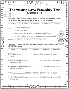 The Westing Game Vocabulary Tests