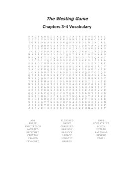 The Westing Game Vocabulary Word Search Packet for Chapters 1-30