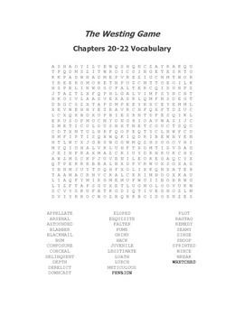 The Westing Game Vocabulary Word Search for Chapters 20-22