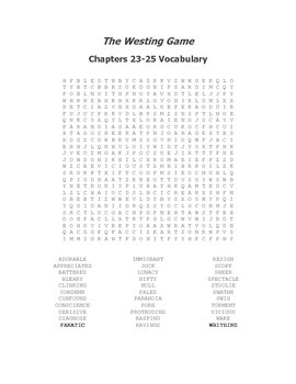 The Westing Game Vocabulary Word Search for Chapters 23-25
