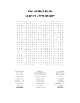 The Westing Game Vocabulary Word Search for Chapters 5-8