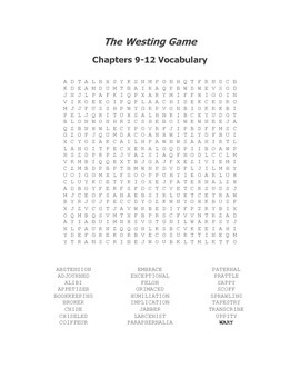 The Westing Game Vocabulary Word Search for Chapters 9-12