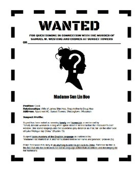 The Westing Game Wanted Poster for Characterization
