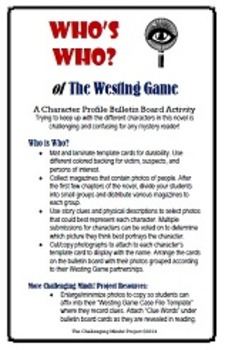 The Westing Game - Who's Who Character Bulletin Board Activity