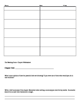 The Westing Game- Worksheets for the Novel