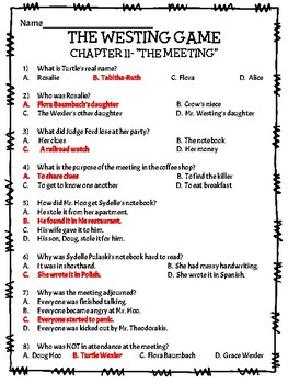 The Westing Game by Ellen Raskin Chapter 11 reading comprehension questions