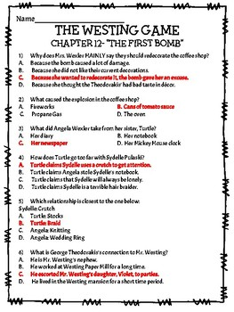 The Westing Game by Ellen Raskin Chapter 12 reading comprehension questions