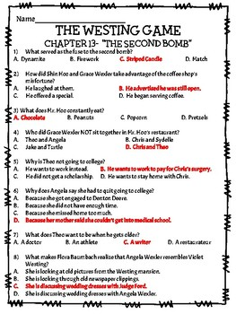 The Westing Game by Ellen Raskin Chapter 13 reading comprehension questions