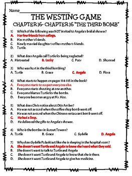The Westing Game by Ellen Raskin Chapter 16 reading comprehension questions