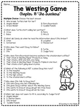The Westing Game by Ellen Raskin Chapter 18 reading comprehension questions