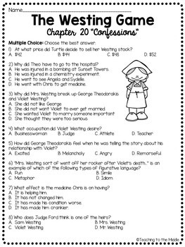 The Westing Game by Ellen Raskin Chapter 20 reading comprehension questions
