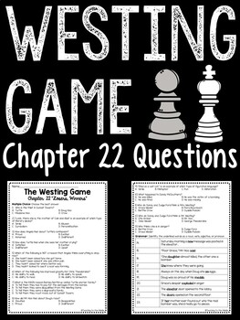 The Westing Game by Ellen Raskin Chapter 22 reading comprehension questions