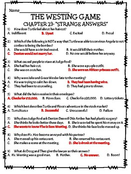 The Westing Game by Ellen Raskin Chapter 23 reading comprehension questions
