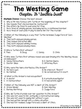 The Westing Game by Ellen Raskin Chapter 26 reading comprehension questions