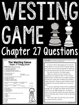 The Westing Game by Ellen Raskin Chapter 27 reading comprehension questions