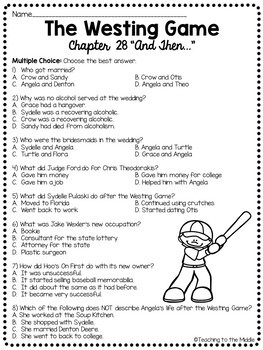 The Westing Game by Ellen Raskin Chapter 28 reading comprehension questions